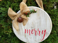 merry sign, rustic christmas decor