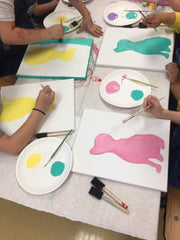 art birthday party, painting party, kids birthday party