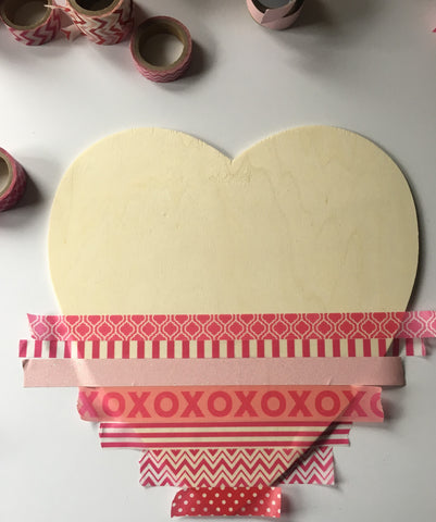diy valentine's decor, washi heart, valentine's day crafts