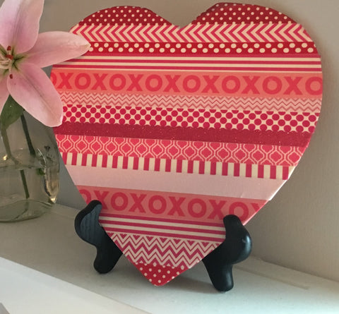 diy valentines decor, washi heart, valentines day crafts