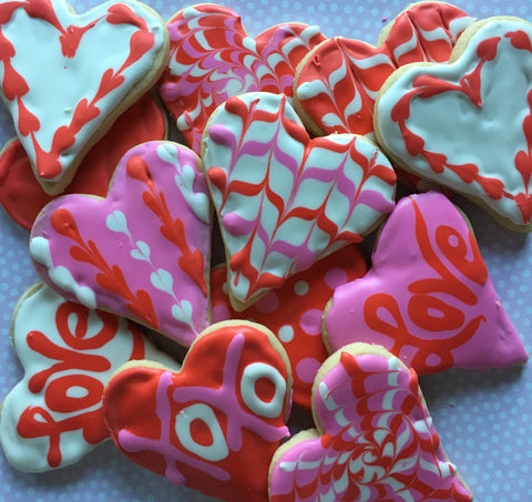 Decorated valentine cookies with royal icing