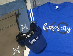 Kansas City tshirt, visor, drawstring bag