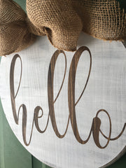 hello round wood sign