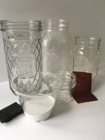 supplies: chalk paint, glass jars, sand paper
