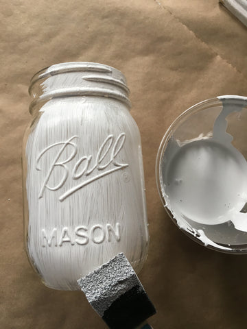 painting chalk paint on glass jar