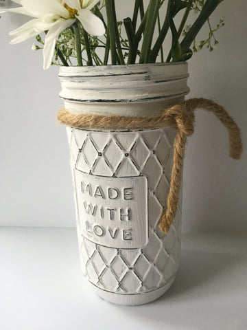 hand painted and distressed glass jar, vintage, farmhouse decor