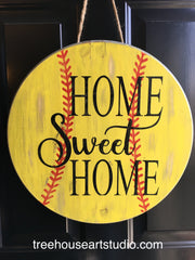 home sweet home softball wood sign
