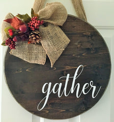 gather wood sign, fall home decor