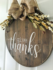 thanksgiving decor, give thanks wood sign, farmhouse decor