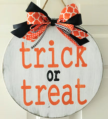 wooden trick or treat sign, halloween decorations