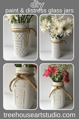 diy paint and distress glass jars and mason jars