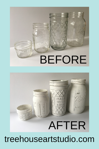 diy before and after painted and distressed glass jars, mason jars
