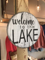 lake round wood sign