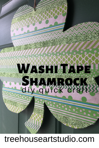 St. Patrick's Day craft, washi tape shamrock, diy, quick craft