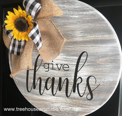 Give Thanks 18in Wood Sign