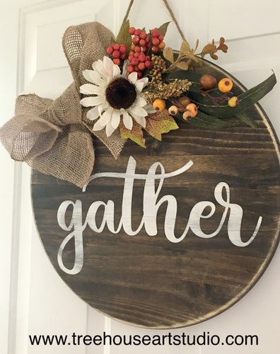 Gather 18in Wood Sign