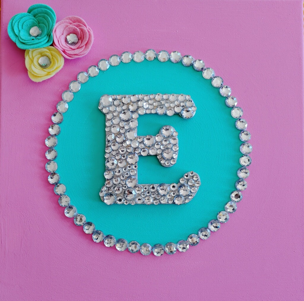 Craft Kit - Jeweled Initial on Canvas