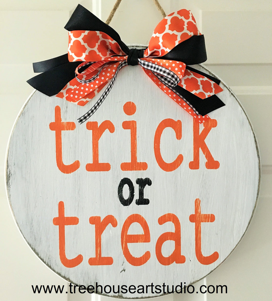 Trick or Treat 15in Wood Sign