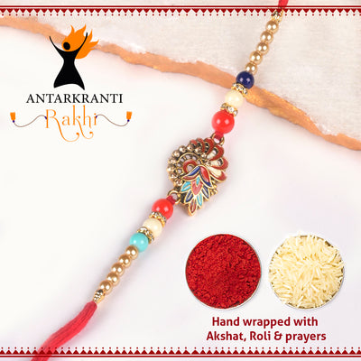 Multicolour Leaf Motif with Beads & Pearls Rakhi with  Roli Chawal & Kalawa For Men