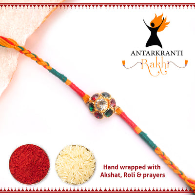 Multi Colour Stone with multicolour thread with Roli Chawal & Kalawa For Men