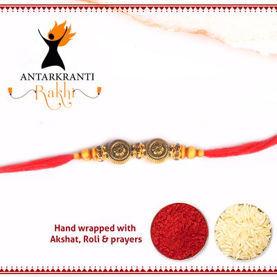 Golden Chakra Motif Rakhi with Roli Chawal & Haldi Kalawa For Men