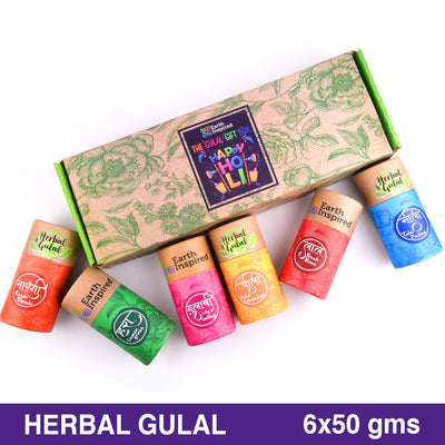 Earth Inspired 6 in 1 | Red, Yellow,Pink, Green, Blue, Orange | Herbal Gulal Gift Set