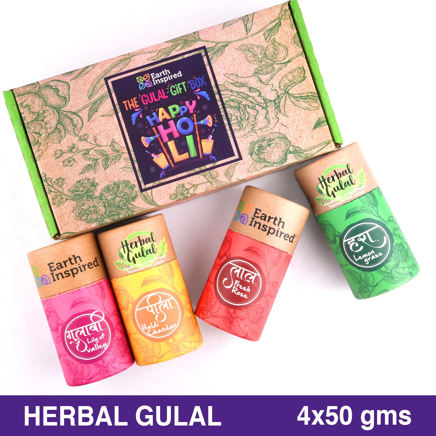 Herbal Gulal | 4 in 1 | Red, Yellow, Pink, Green. 50g x 4 by Earth Inspired