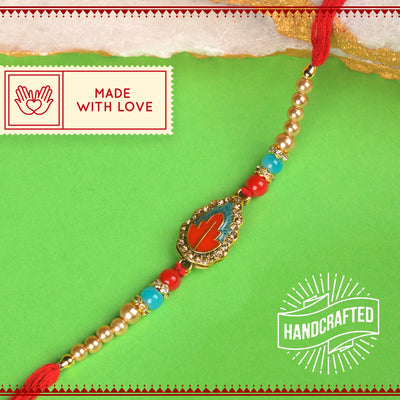 Red & Golden Leaf with Pearls Rakhi with Roli Chawal & Kalawa For Men