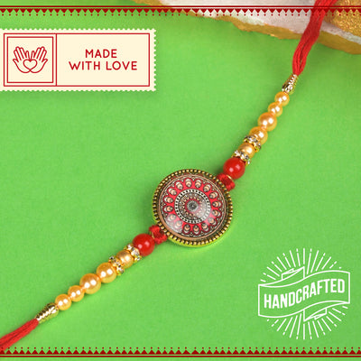 Alpana design with Golden Pearls Rakhi with Roli Chawal & Kalawa For Men