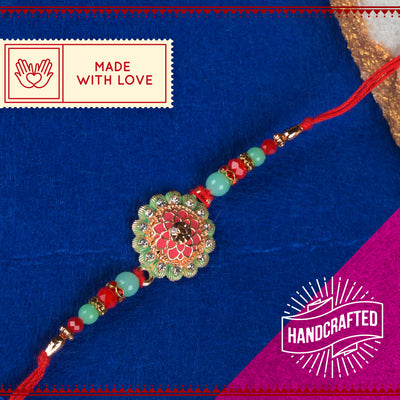 Pink & Torquiose Green Floral Rakhi with Roli Chawal & Kalawa For Men