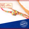 Golden Ganpati on Multicolur Motif Rakhi with Roli Chawal & Kalawa For Men