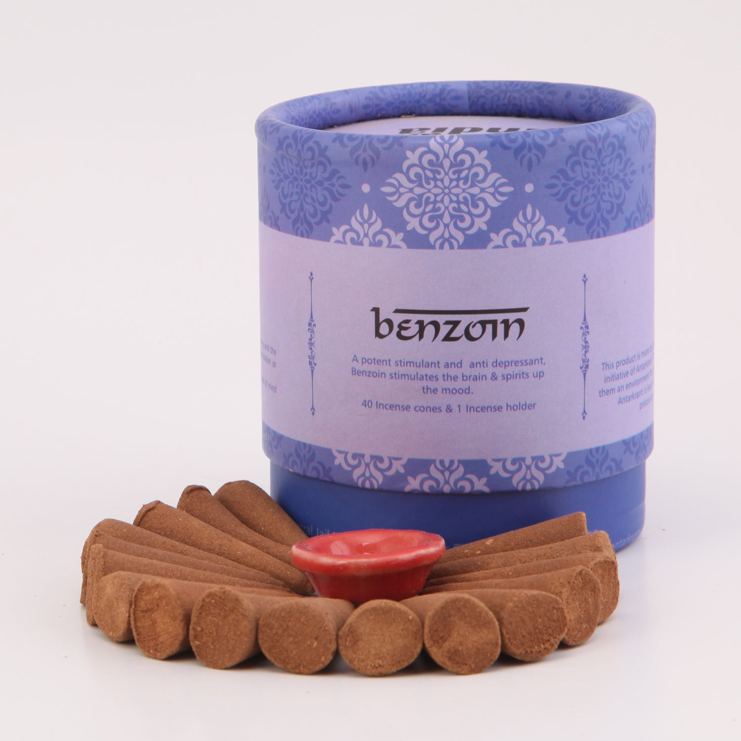 Benzoin Natural Incense Dhoop cones with a Cone holder | Charcoal free
