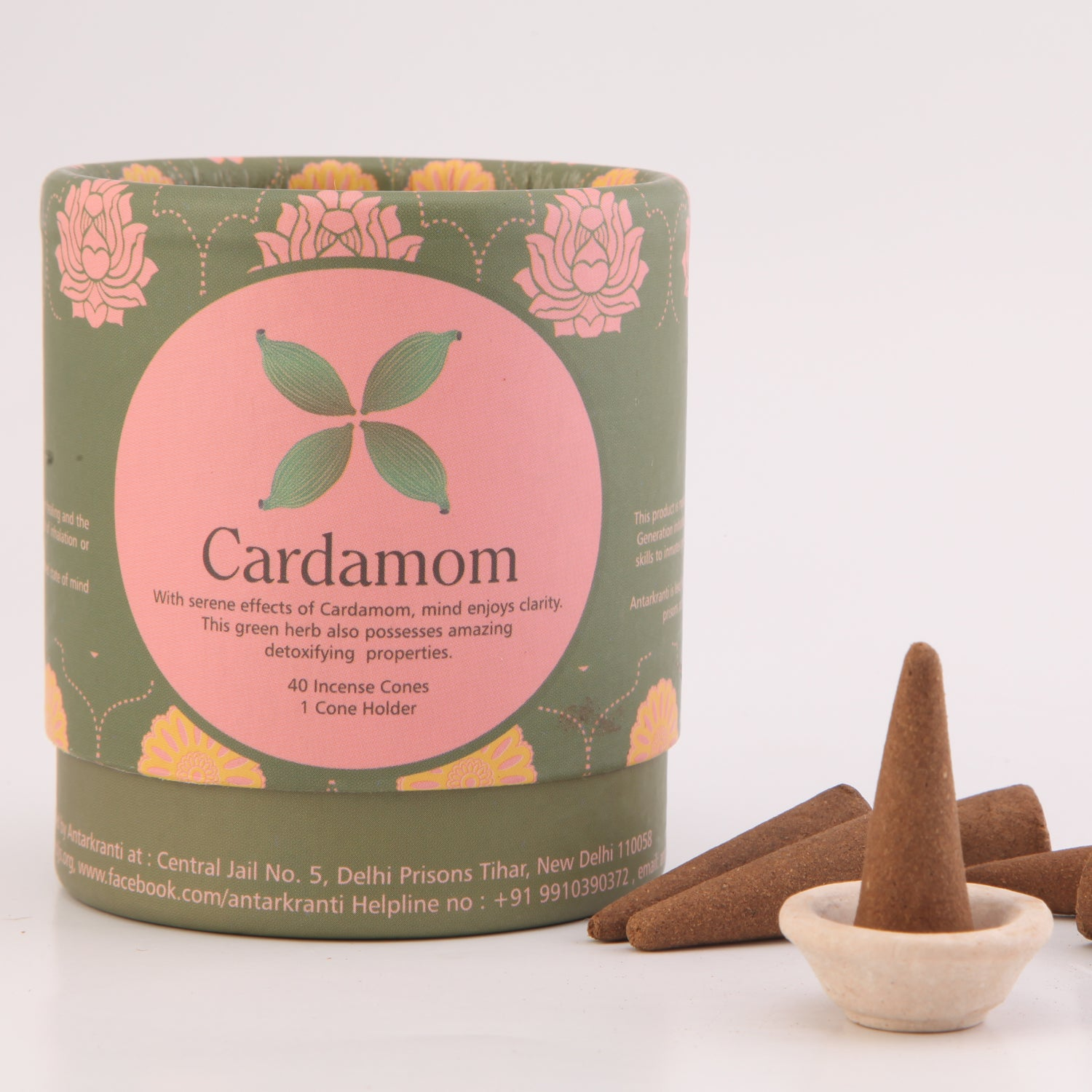 Cardamom Natural Incense Dhoop cones with a Cone holder | Charcoal free