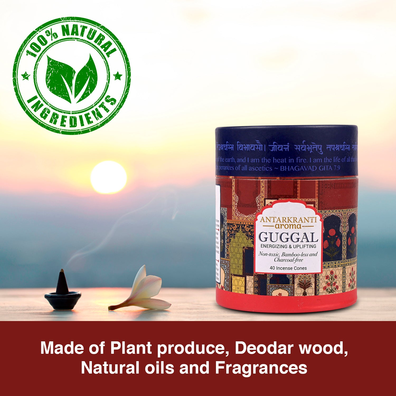 Guggal Natural Incense Dhoop cones with a Cone holder | Charcoal free