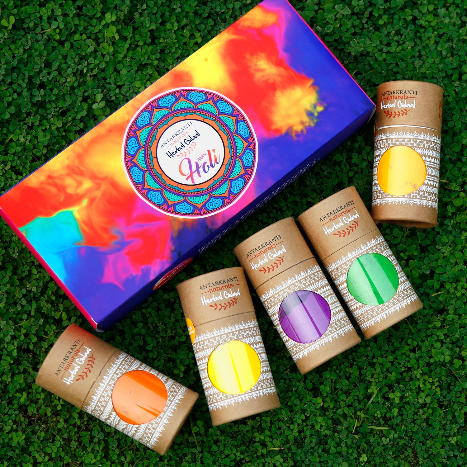 Riot of Colours  5 in 1 Herbal Holi Gulal Gift Set. Herbal Holi Color 5 in 1 Gift Set.
