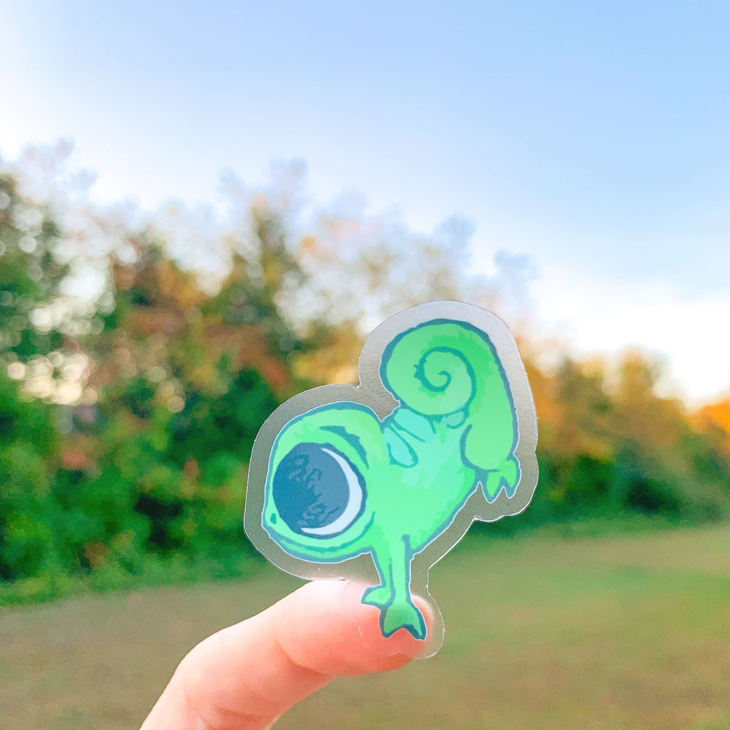 Cutie Chameleon Clear Sticker