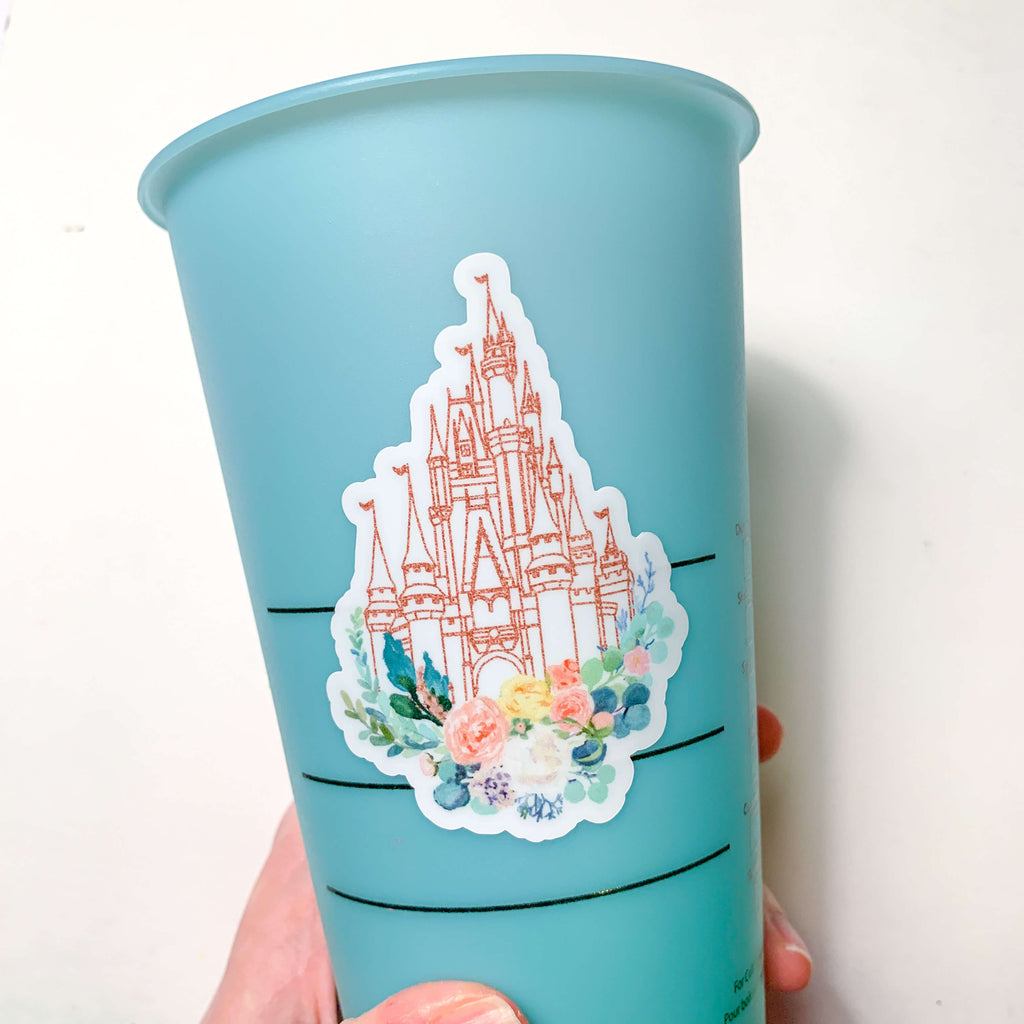 Rose Gold Castle Vinyl Sticker