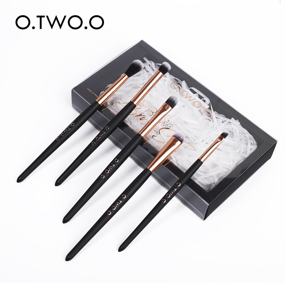 O.TWO.O 5pcs/set Brushes For Makeup Soft Synthetic Hair Wooden Handle Eyeshadow Brush With Gift Box Cosmetics Kit