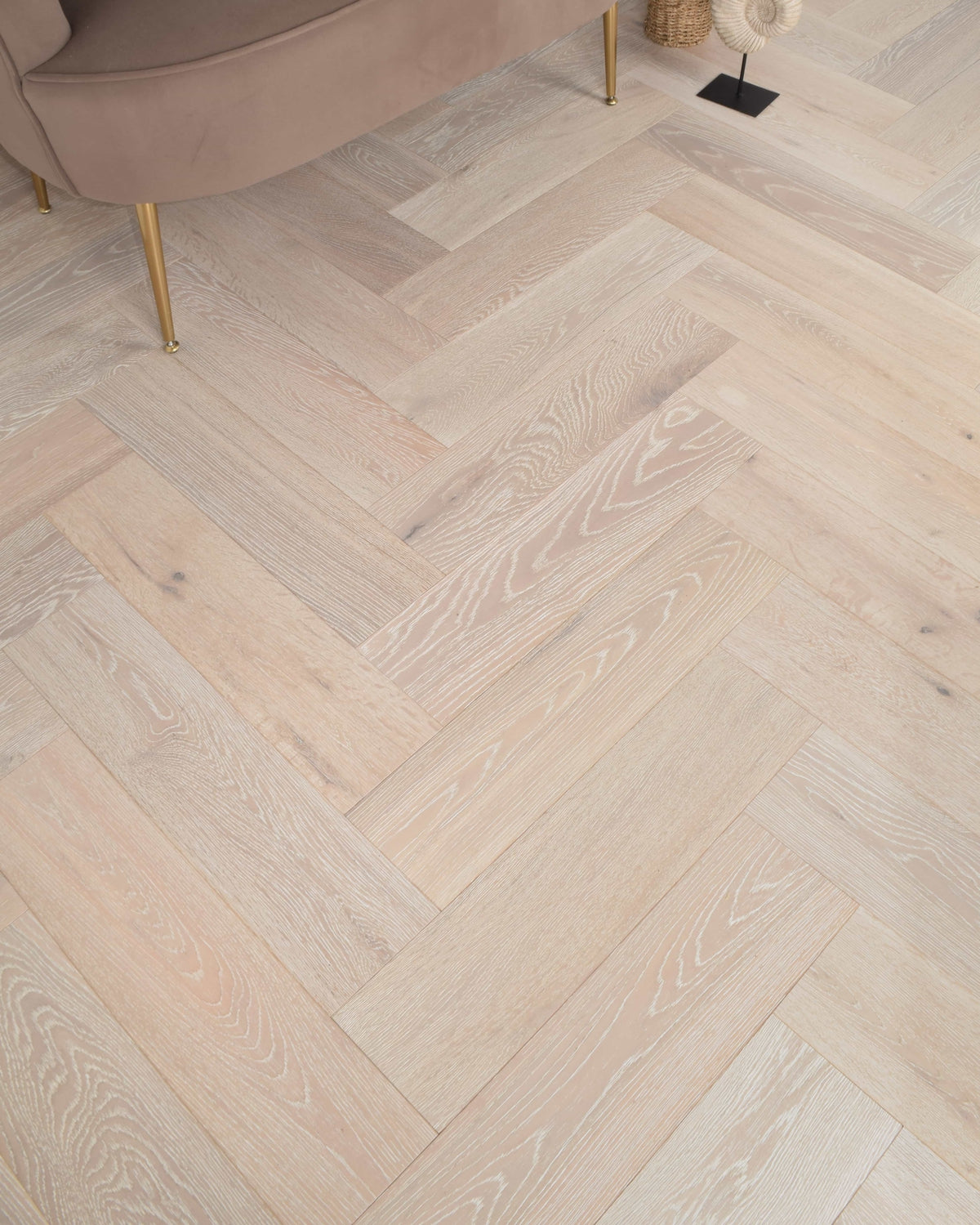 Underfoot Katmai Herringbone White Washed Matt Lacquered Sample