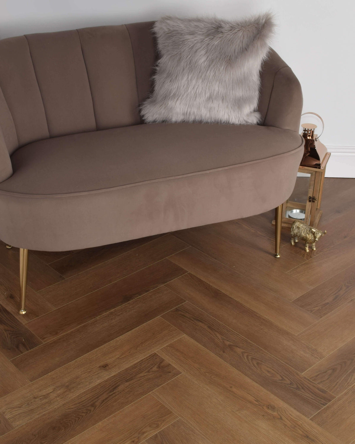 Underfoot Zambezi Autumn Brown Oak Herringbone