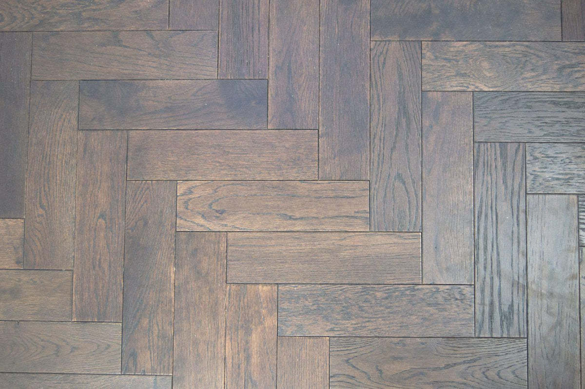 Underfoot Capital Reef Herringbone Walnut Stain Brushed Matt Lacquered Wood