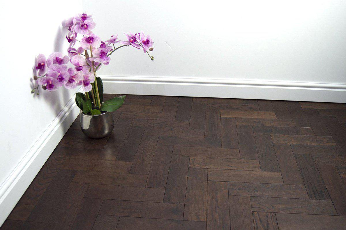 Underfoot Capital Reef Herringbone Walnut Stain Brushed Matt Lacquered Sample