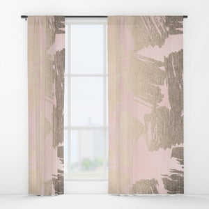 Large Space Pink And Gold Curtains
