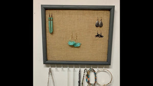 How to make a Burlap jewelry frame organizer with necklace hooks, diy jewelry organizer by Rose Kleinsorge (1 month ago)
