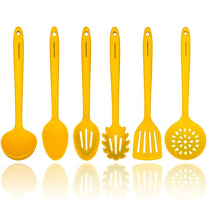 Yellow Silicone Cooking Utensils Set  Sturdy Steel Inner Core  Spatula, Mixing & Slotted Spoon, Ladle, Pasta Server, Drainer  Heat Resistant Kitchen Tools  Bonus Recipe Ebook