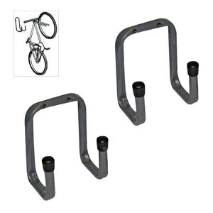 2 x Wall Mounted 70mm Tool / Bike Double Storage Hooks<br><br>
