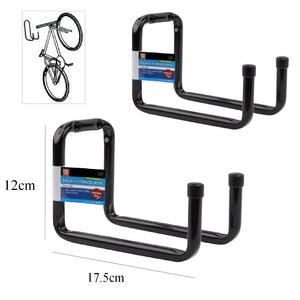 2 x 175mm Heavy Duty Double Bike Storage Hooks Wall Mounted