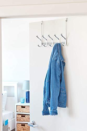 Arkbuzz Over Door Storage Rack – Organizer Hooks for Coats, Hats, Robes, Clothes or Towels – 5 Dual Hooks