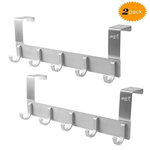 Over The Door Hook Racks,Rongyuxuan Pack 2 Heavy Duty Storage Hooks for Coat Towel Bag Robe-5 Hooks,Aluminum Brush Finish