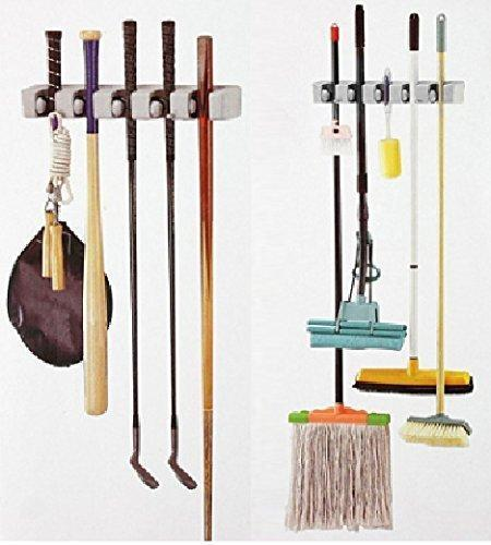 Mop And Broom Holder, Multipurpose Wall Mounted Organizer Storage Hooks, Ideal Broom Hanger For Kitchen Garden And Garage